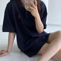 SALE 곰돌이 자수 카라 오버핏 롱 티셔츠