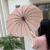 슈가슈가 파스텔 우드손잡이 16살대 자동 장우산