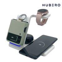 휴베로 H1 3in1 멀티 15W 스마트폰 삼성 갤럭시워치 에어팟 버즈 다기능 고속무선충전기