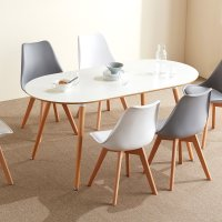 보스크 타원형 4인 원목 식탁 테이블 의자세트