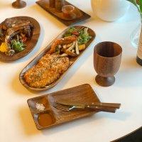나티플 아카시아 원목 옻칠 식기 캠핑 그릇 파스타 세트( 4P )