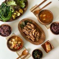 나티플 아카시아 원목 옻칠 한식 우드식기 캠핑 그릇 홈세트(11P)