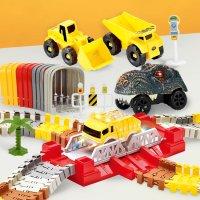 해피플레이 중장비 대탐험 와일드 트랙 캐리어형 레일장난감 어린이 트랙장난감 포크레인