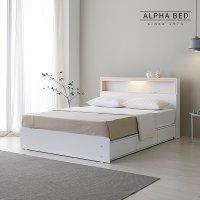 알파침대 나르 LED 편백나무 수납 침대프레임 SS/Q