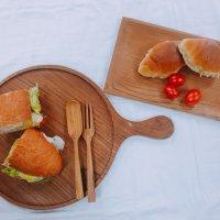 나무 티크 원목 플레이팅 피자 접시